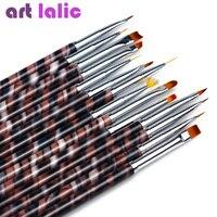 Artlalic 14 pz Granito Polacco UV Del Gel Del Costruttore Extension Spazzola di Arte Del Chiodo di Scintillio di Strass 3D Manicure Design Draw Vernice Penna Kit