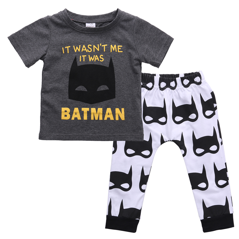 Hot Newborn Baby Boys Short Sleeve Batman T-shirt Tops Pants Outfits Clothes Set