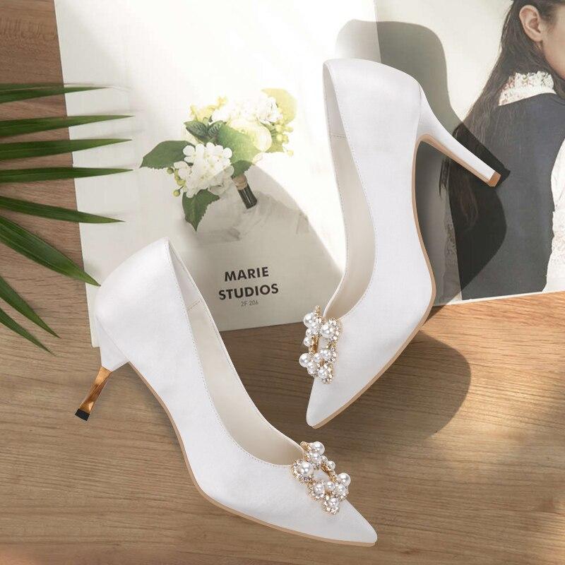 Mariage Soirée Pompes En Cristal Mariée De Eshemg Perle Chaussures Blanc 2018 Dames Femmes xIpq7BwC