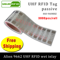 UHF RFID tag sticker Alien 9662 EPC6C wet inlay 915mhz868mhz860 960MHZ Higgs3 3000pcs free shipping adhesive passive RFID label