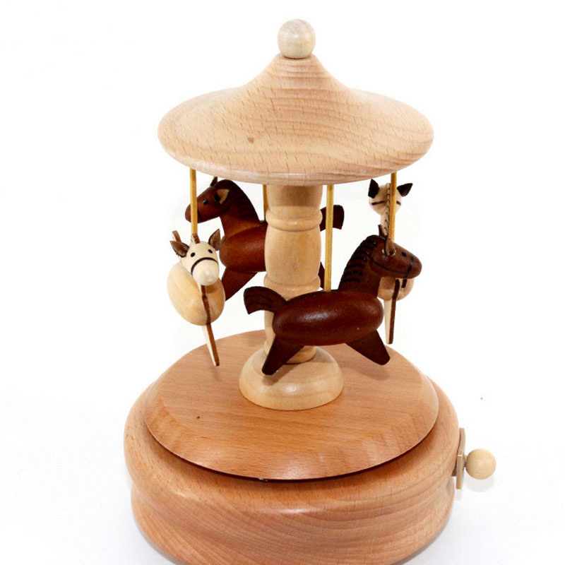 1 Piece New Wood Clockwork Carousel Music Ofbox Toys For Children Handmade Wind Up Toy Birthday Gifts For Kids Girl Friends