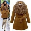 Мода плюс размер 5XL clothing большой размер шерстяные верхняя одежда меха кролика воротник средней длины зима тонкая талия утолщение пальто