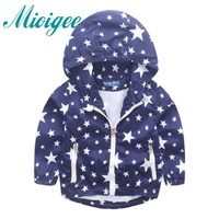 2017 Baby Boys Jackets Children Hooded Star Printed Boys Outerwear 2 8T Kids Windbreaker Spring Autumn