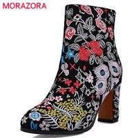 MORAZORA Nationale stijl 2017 herfst nieuwe komen laarzen vrouwen rits borduren hoge vierkante hakken laarzen koe suede enkellaarsjes