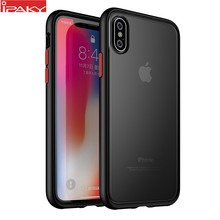 Para iPhone XS XR funda sombra mágica IPAKY XS MAX funda con botones de colores TPU PC híbrido a prueba de golpes para iPhone 8 7 6s 6 Plus caso(China)