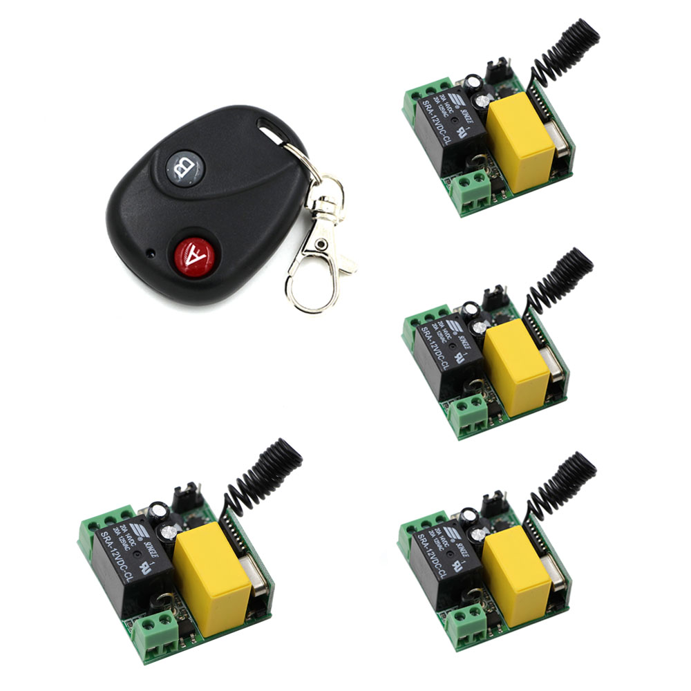 Universal AC220V 1 CH RF Wireless Remote Control Switch System Mini Sizes 4*Receivers Module and  Transmitter A for ON B for OFF 2 receivers 60 buzzers wireless restaurant buzzer caller table call calling button waiter pager system