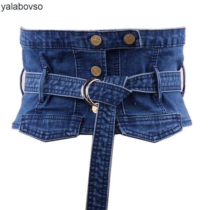 Yalabovso Denim Wide Waistblet With Blue Darkblue Light Blue Color Bandage Belt For Dresses Or Coat Woman Waistbelt Y001 Z20
