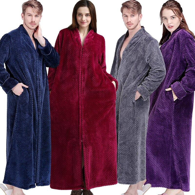 e6cc8c657fb Women Winter Extra Long Thick Warm Bath Robe Plus Size Zipper Luxury Flannel  Peignoir Pregnant Bathrobe Men Coral Fleece Robes