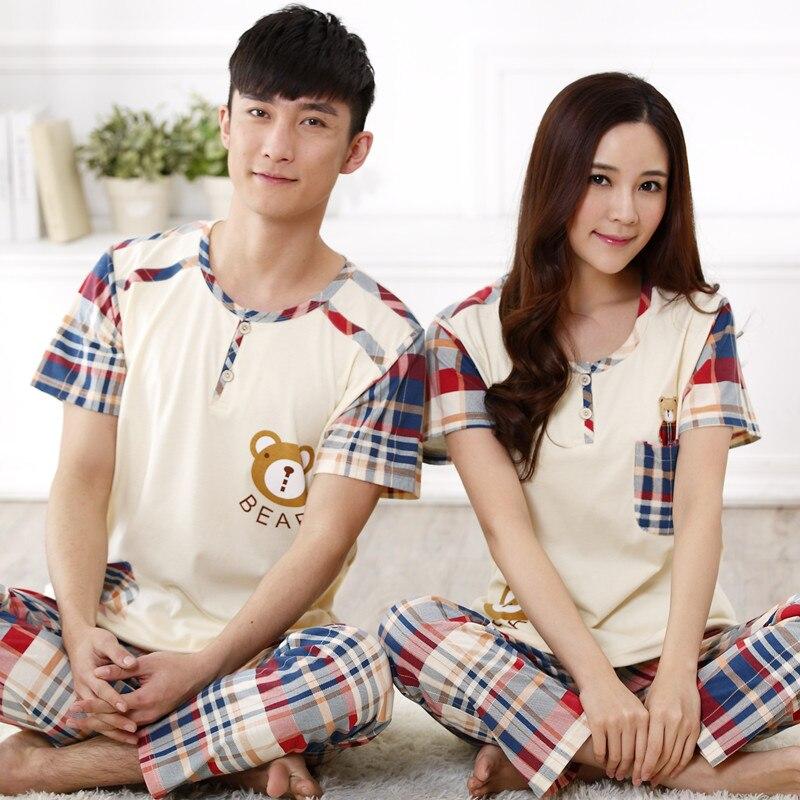 Couple Pajamas Women Lovers Sleepwear Cotton Short Sleeve Trousers Pyjamas Pullover Men Pajama Sets Women