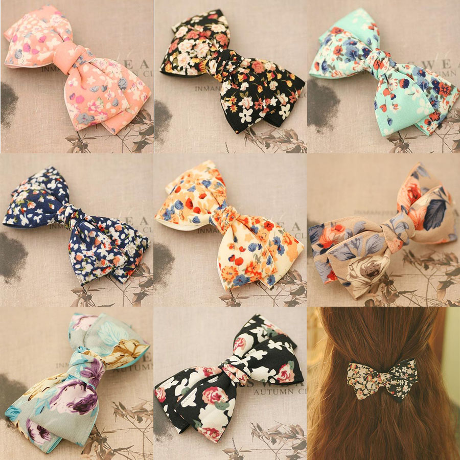 Flower Print Boutique Bow Hair Clips For Girls Two Layers Floral Hair Bow Barrettes Hair Accessories For Women Free Shipping barrettes cute baby girl big bow clips boutique hair pin luxury girls hairpin hair accessories free shipping