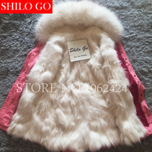 Free shipping 2016 New Women Winter Pink Jacket Coats Thick Parkas Plus Size Real Raccoon Fox