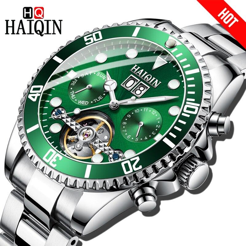 HAIQIN Brand Luxury Men Watch Mechanical Bussiness steel Watch sports Waterproof Wristwatch Tourbillon Reloj mecanico de hombres