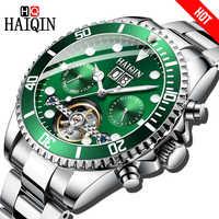 HAIQIN Marke Luxus Männer Uhr Mechanische Geschäfts stahl Uhr sport Wasserdichte Armbanduhr Tourbillon Reloj mecanico de hombres