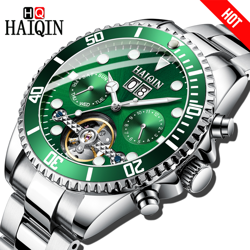 Haiqin marca de luxo relógio masculino negócios mecânica aço esportes relógio de pulso à prova dwaterproof água tourbillon reloj mecanico hombres
