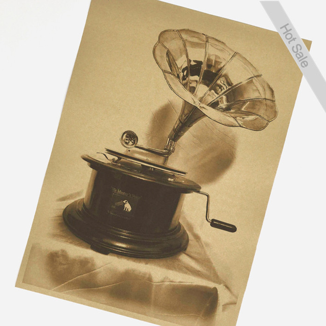 Free ship Old phonograph Painting Vintage Poster HD Bar/cafe Retro ...