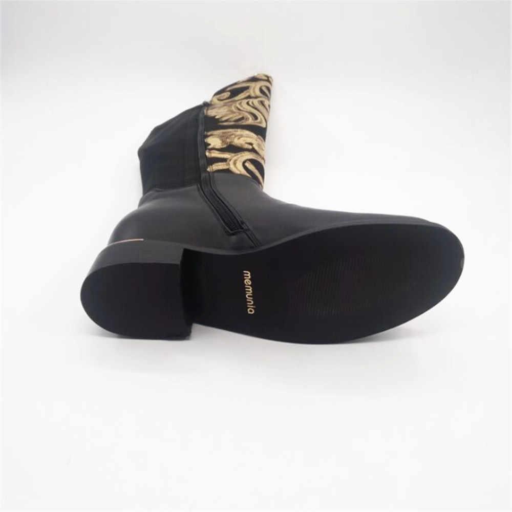 MEMUNIA 2019 แฟชั่นผู้หญิงใหม่รองเท้าหนังแท้สีดำสุภาพสตรีรองเท้าส้น zipper หนังวัวหนังเข่ารองเท้า