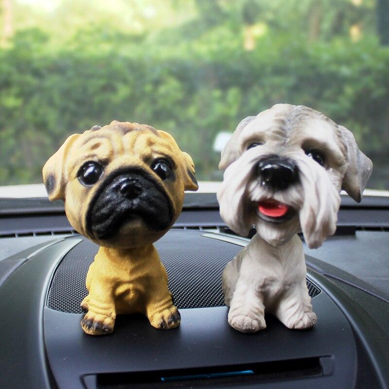 Car Ornament Nodding Dog Car Auto Dash Rocking Head Dog Natural Resin Dog Toy for Car Interior Accessories Decorations Home Gift