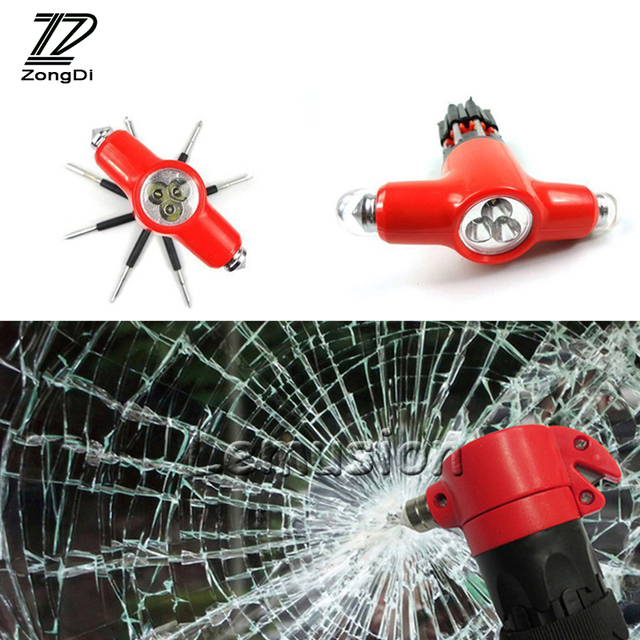 Us 12 6 20 Off Zd 1pc Car Multi Function Safety Hammer With Led Styling For Bmw E46 E39 Audi A3 Vw Polo Lada Accessories Emergency Escape Tool In