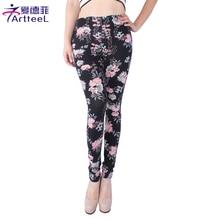 Women Retro Floral Print Stretch Leggings Casual Pants Fitness Legging Slim Skinny Pencil Trousers