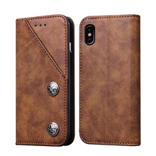Magnetic Retro PU Leather Kickstand Case Cover for iPhone X