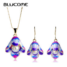Blucome Artificial Pearl Jewelry Sets Chinese Flower Enamel Pendant Statement Necklace Max Brincos Women Wedding Accessories(China)