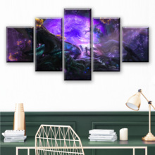 Canvas Wall Art Pictures Frames Living Room 5 Pieces Enchanted Tree Scenery Paintings Home Decor HD Printed Magic Forest Posters magic forest style 13 pieces stair sticker wall decor