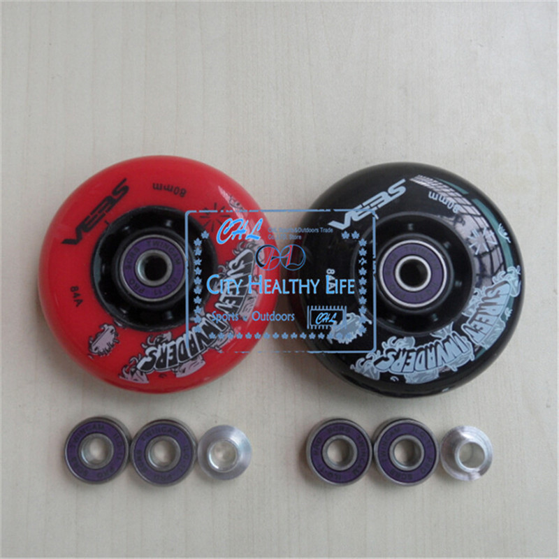 8 Pcs Street Invaders FSK Slalom Skating Wheels 84A Roller Skates Wheel with ABEC 9 ILQ