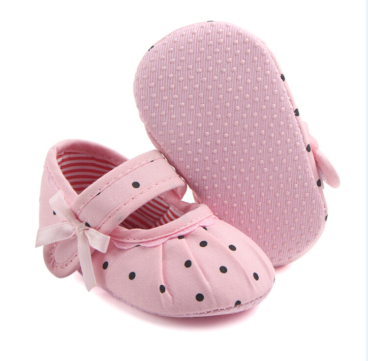 Newborn Baby Girl Soft Sole Crib Shoes Black White Polka Dots Anti-slip Sneaker Prewalker Ruched First Walkers 0-18M