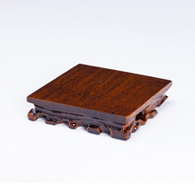 Square Real Solid Wood Carving Vase Base Stone Buddha Incense Flowerpot Wood Carving Teapot Base