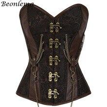 Beonlema Vintage Steel Boned Corset Bustier โลหะ Korset สำหรับผู้หญิงเทรนเนอร์เอวเซ็กซี่สีน้ำตาล Steampunk Femme Bodice