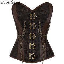 Beonlema Vintage Steel Boned Corset Bustier Metal Chain Korset For Women Sexy Waist Trainer Brown Steampunk Femme Bodice