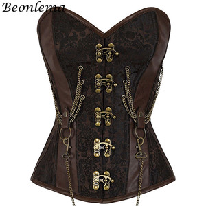 Image 1 - Beonlema Vintage Steel Boned Corset Bustier Metal Chain Korset For Women Sexy Waist Trainer Brown Steampunk Femme Bodice