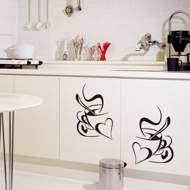 Retro Double love coffee cup wall sticker vinyl decals Restaurant Kitchen removable wall Stickers DIY home decor wall art mural 5