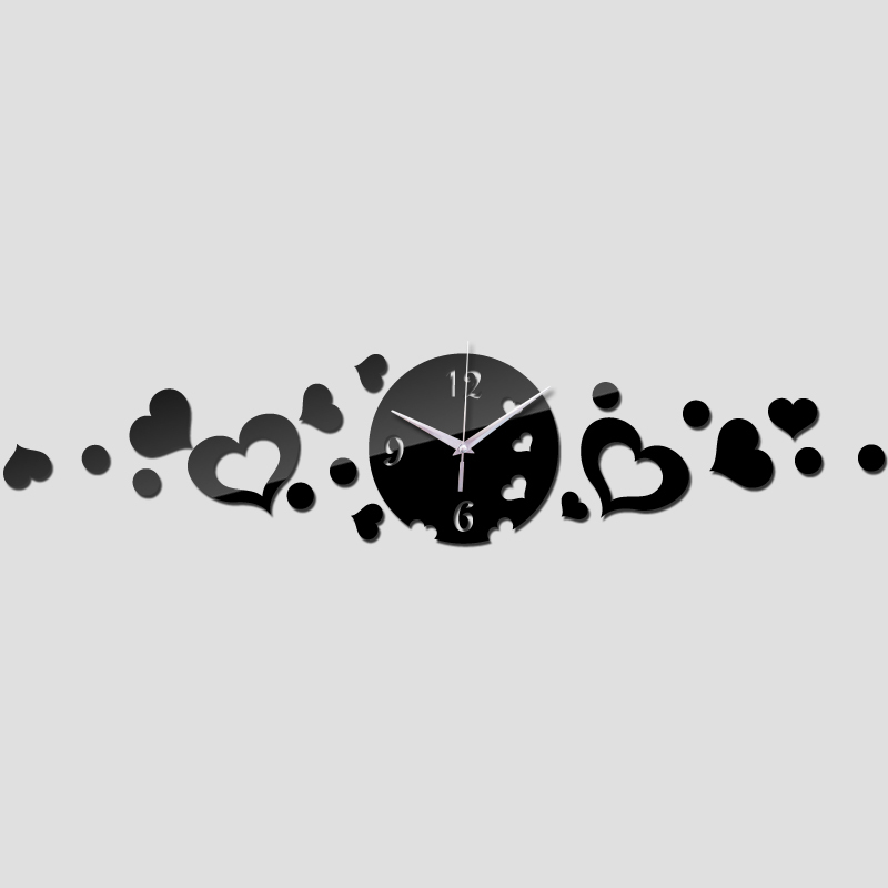 Em forma de coração preto relógio de parede design moderno espelho de luxo relógio de parede espelho de cristal 3d relógios de parede da sala de tv, Fundo