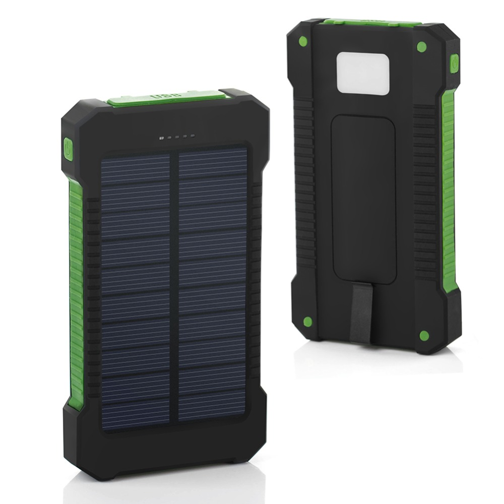 10000 mAh Outdoor Travel hiking Solar Charger Dual USB External Battery Power Bank <font><b>Waterproof</b></font> <font><b>Powerbank</b></font> For Samsung iPhone 7 8 6 image