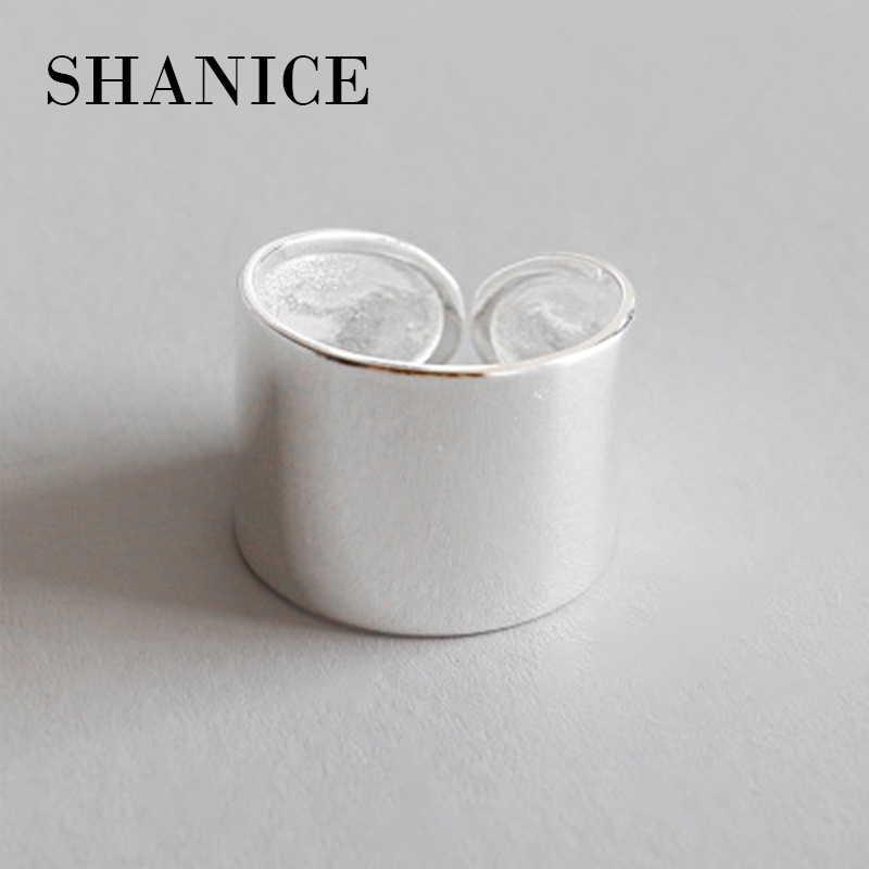 SHANICE 925 Sterling Silver Chic style Open Ring For Women Big Smooth Wide Face Rings for Women Punk Style Bijoux Femme punk style floral hollow out cuff ring for women