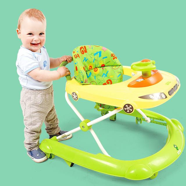 Venta caliente Niños Andador Música Multifuncional Placa de U Tipo Plegable Anti-vuelco Seguridad Andadores Bebé Luz Paso coche