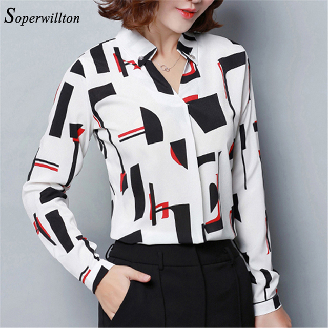 bd61931e1c5 2019 Print Chiffon Blouse Women Long Sleeve Womens Tops and Blouses Shirts  Casual V Neck Blusas