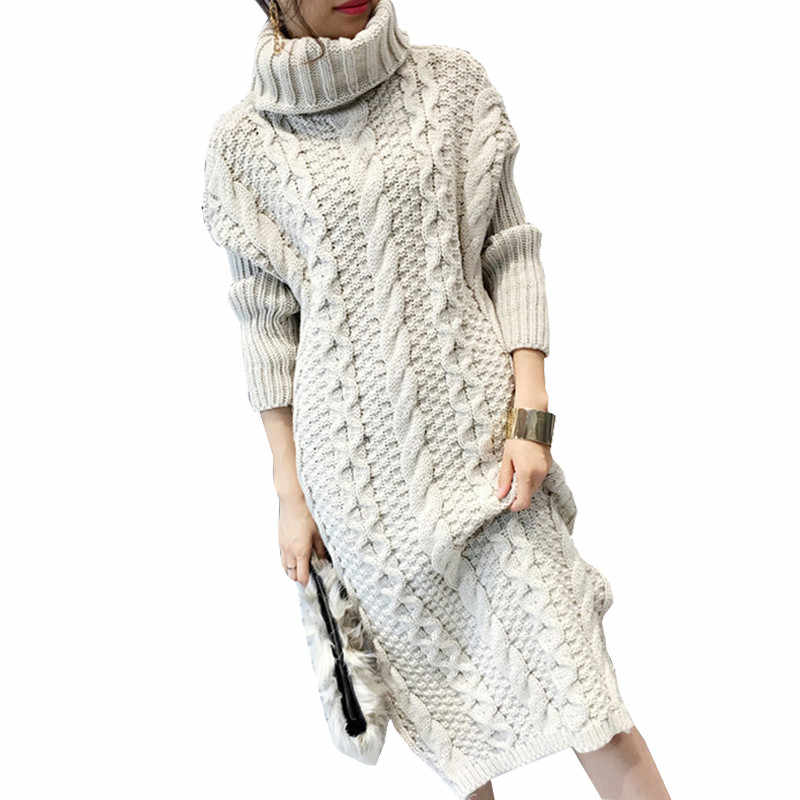 2018 Autumn Winter Women Sweater Dresses Winter Long Knitted Female Warm Turtleneck Twisted Thickening Slim Pullover Tops H21