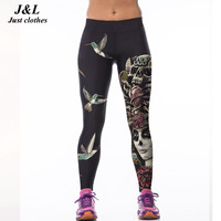 J L Hot Sales 3D Print Sports Leggings Women Skull Girl Birds Printed Fitness Leggings Fashion