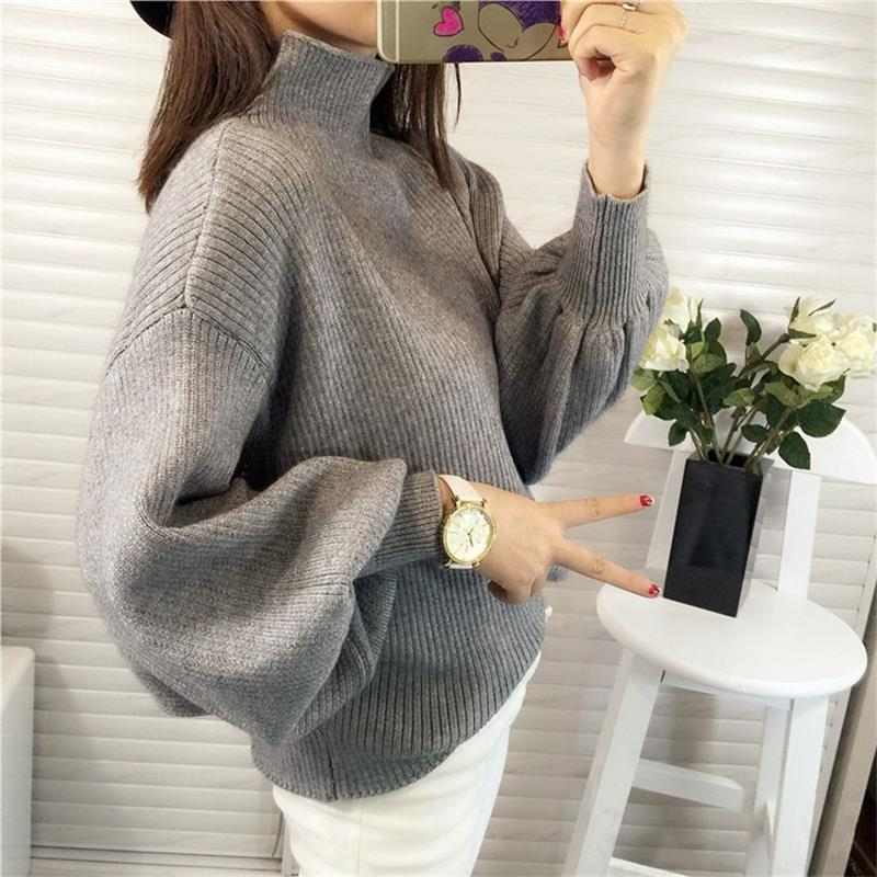 Winter Women Sweaters Fashion Turtleneck Batwing Sleeve Pullovers Loose Knitted Sweaters 2018 New Female Jumper Christmas Tops