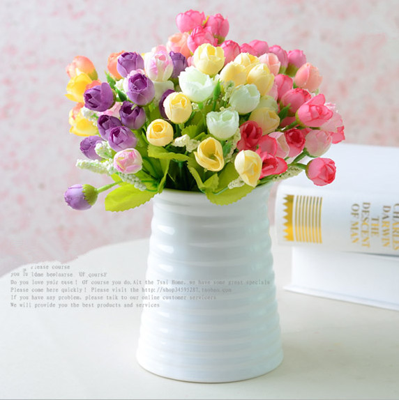 Mini Fresh Cute Tea Rose Spring Flowers Artificial Silk Flowers Home