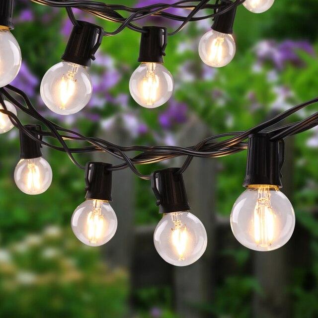 outdoor globe string lights with g40 led bulbs market cafe vintage