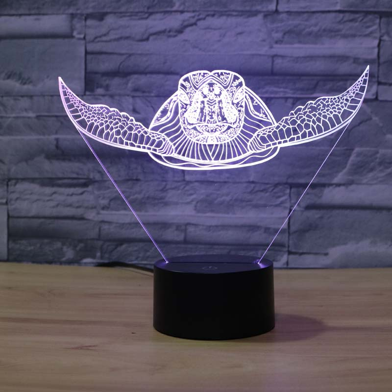 7 färger byter havssköldpadda Nattlampor 3D Touch Nattlampa vuxen