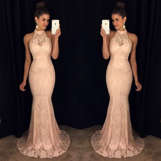 Aliexpress.com : Buy Pastel Pink Halter Lace Mermaid Prom Dresses ...