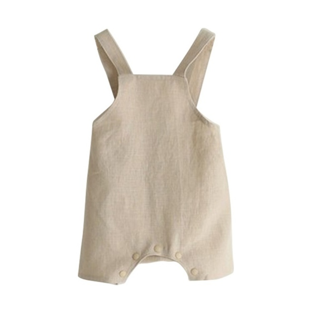 e8c55c938 New Causal Cotton Linen Baby Romper Solid Color Suspender Overalls ...