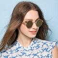 Feidu new moda mulheres rodada óculos de sol feminino marca designer retro óculos de armação de metal óculos de condução oculos de sol