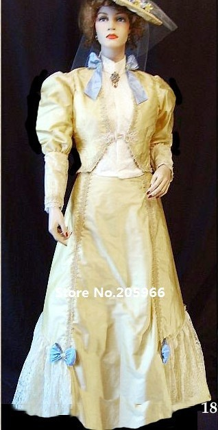 Costumewith Jour Or Vintage Custom Robe Événement S 1890 Marche Et Victorienne Veste Made De Costume xwRAU1