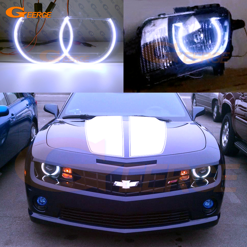 цена на For Chevrolet Chevy Camaro 2010 2011 2012 2013 Headlight Excellent Ultra bright illumination COB led angel eyes kit halo ring