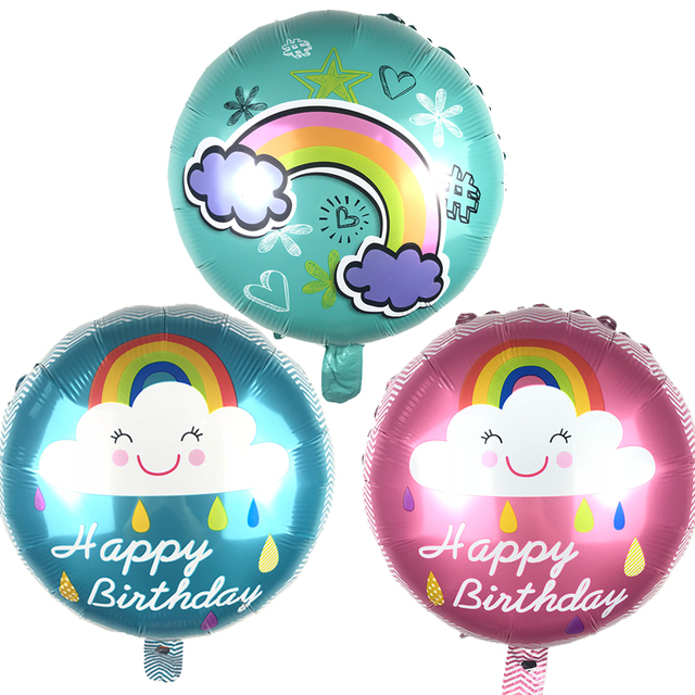 5pcs Rainbow Balloons Smile Cloud Aluminum Foil Birthday Party Wedding Decoration Anniversary Helium Balloon 4545cm